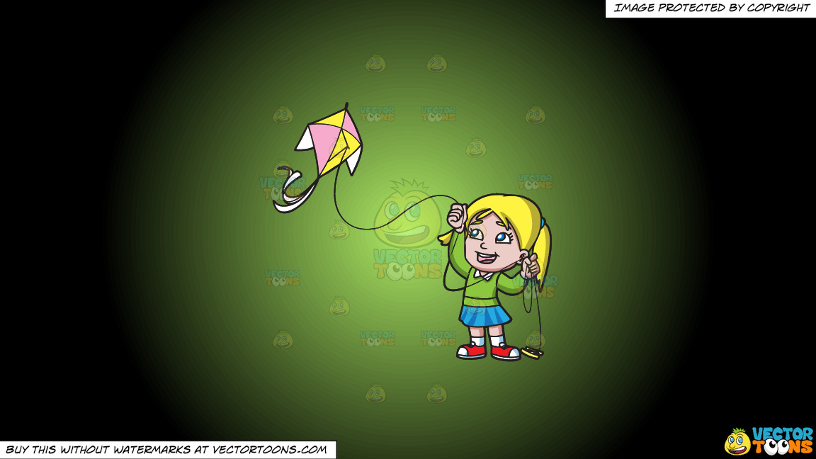 A Delighted Girl Flying Her Pretty Kite On A Green And Black Gradient Background thumbnail
