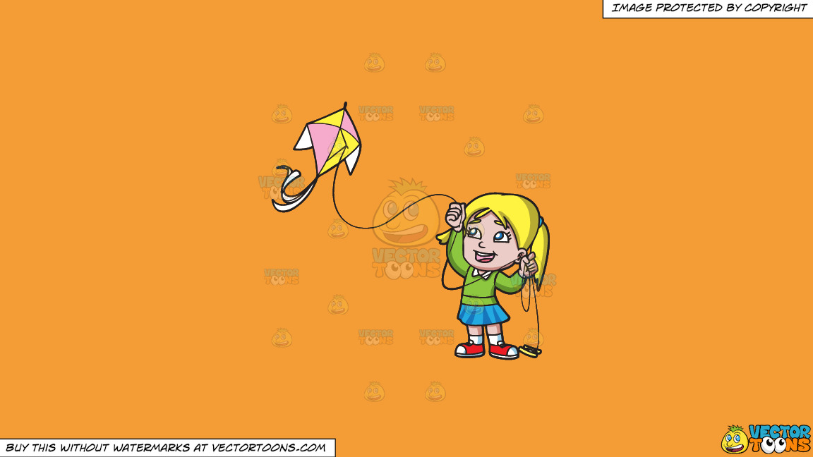 A Delighted Girl Flying Her Pretty Kite On A Solid Deep Saffron Gold F49d37 Background thumbnail
