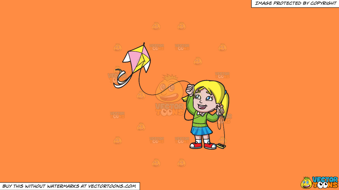 A Delighted Girl Flying Her Pretty Kite On A Solid Mango Orange Ff8c42 Background thumbnail