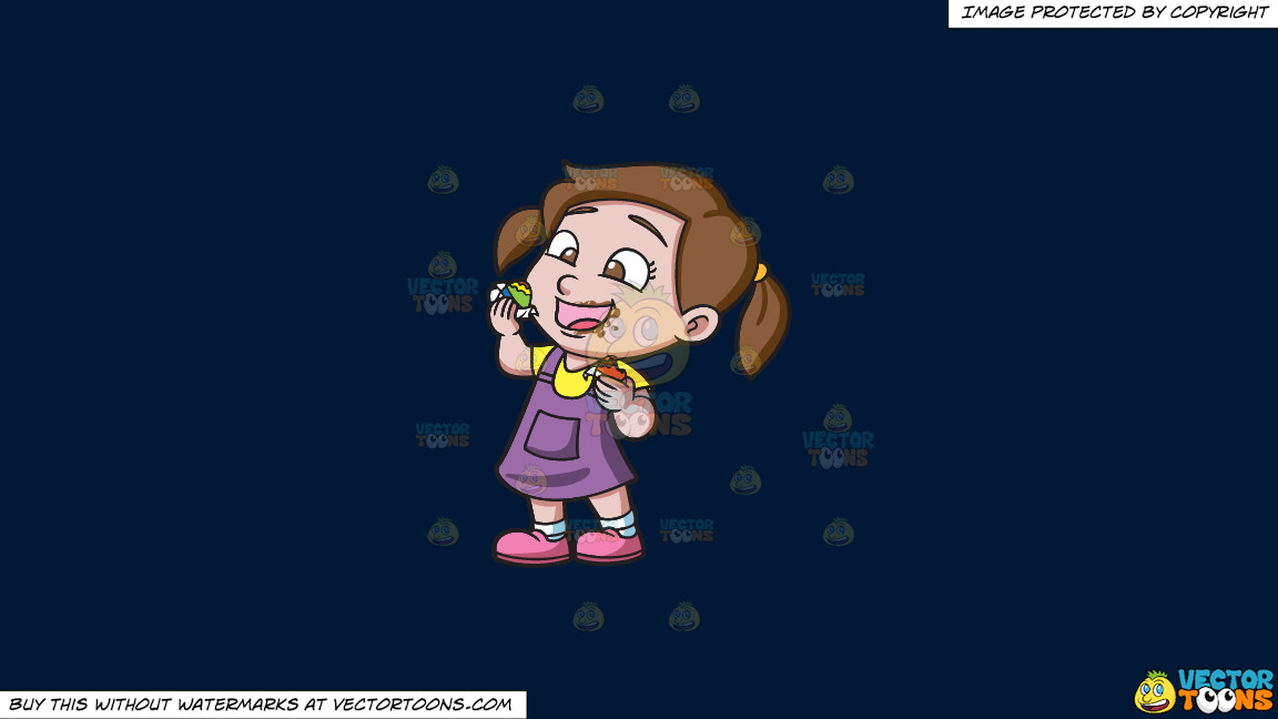 A Delighted Girl Munching Chocolates On A Solid Dark Blue 011936 Background thumbnail