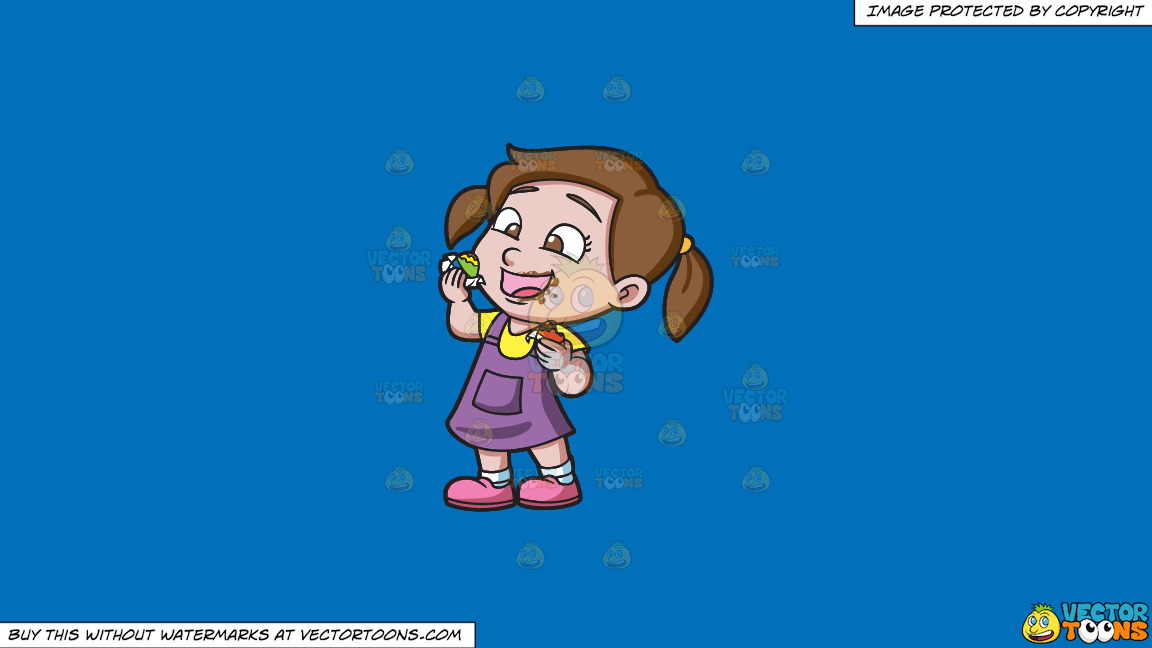 A Delighted Girl Munching Chocolates On A Solid Spanish Blue 016fb9 Background thumbnail