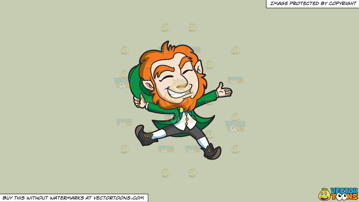 A Delighted Leprechaun Jumps For Joy On A Solid Pale Silver C6ccb2 Background thumbnail