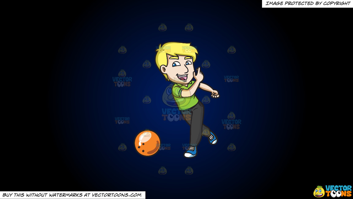 A Delighted Man Enjoying A Game Of Bowling On A Dark Blue And Black Gradient Background thumbnail