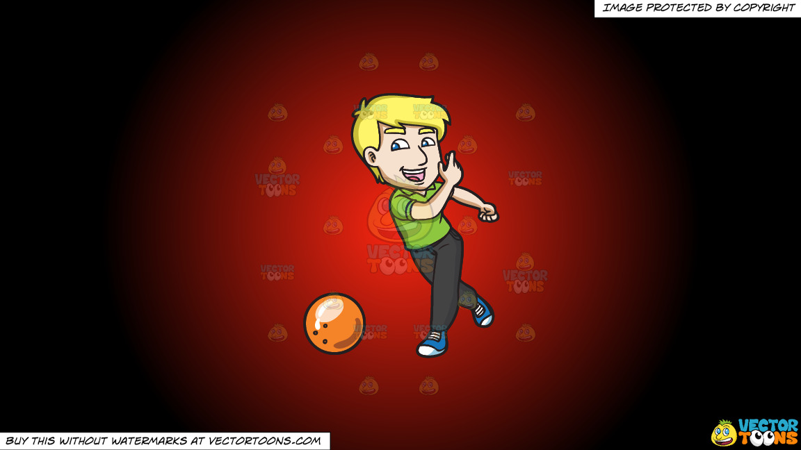 A Delighted Man Enjoying A Game Of Bowling On A Red And Black Gradient Background thumbnail