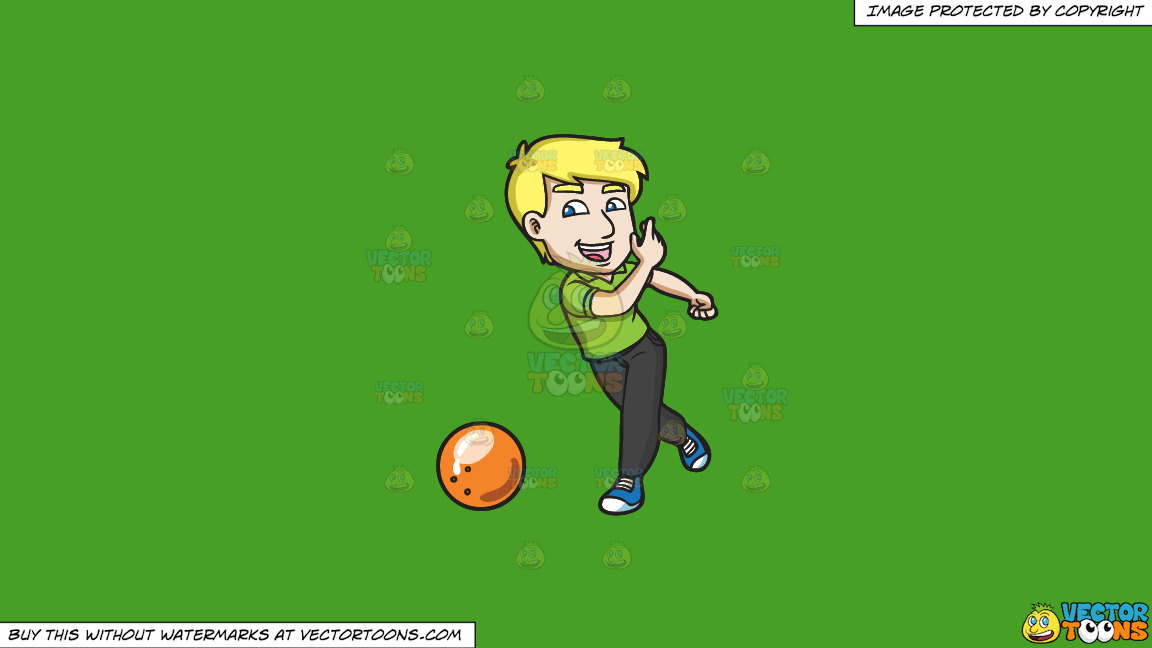 A Delighted Man Enjoying A Game Of Bowling On A Solid Kelly Green 47a025 Background thumbnail