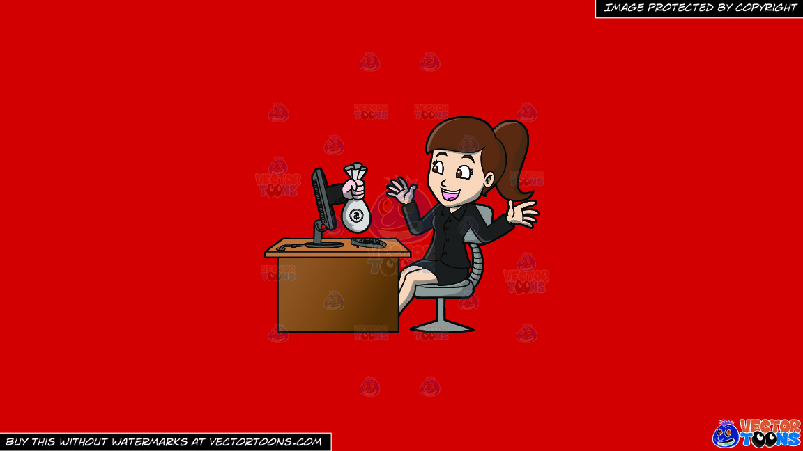 A Delighted Woman Getting A Bag Of Money From Her Computer On A Solid Fire Engine Red C81d25 Background thumbnail