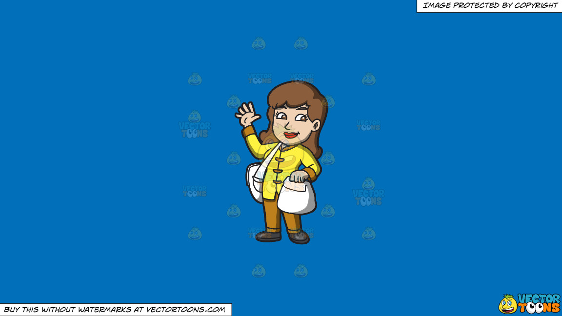 A Delivery Woman Waving Hello On A Solid Spanish Blue 016fb9 Background thumbnail