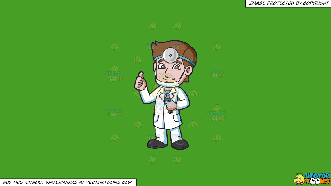A Dentist Giving A Thumbs Up Sign On A Solid Kelly Green 47a025 Background thumbnail