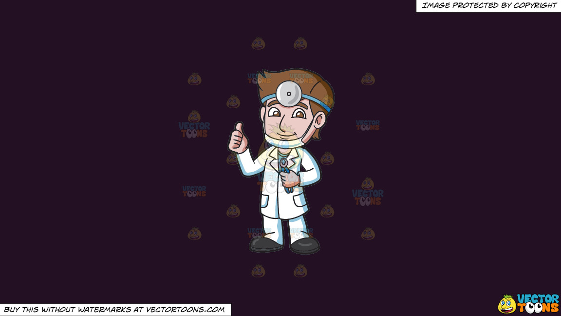 A Dentist Giving A Thumbs Up Sign On A Solid Purple Rasin 241023 Background thumbnail