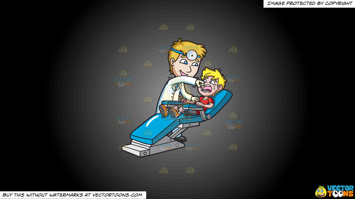 A Dentist Pulling Out The Tooth Of A Terrified Boy On A Grey And Black Gradient Background thumbnail