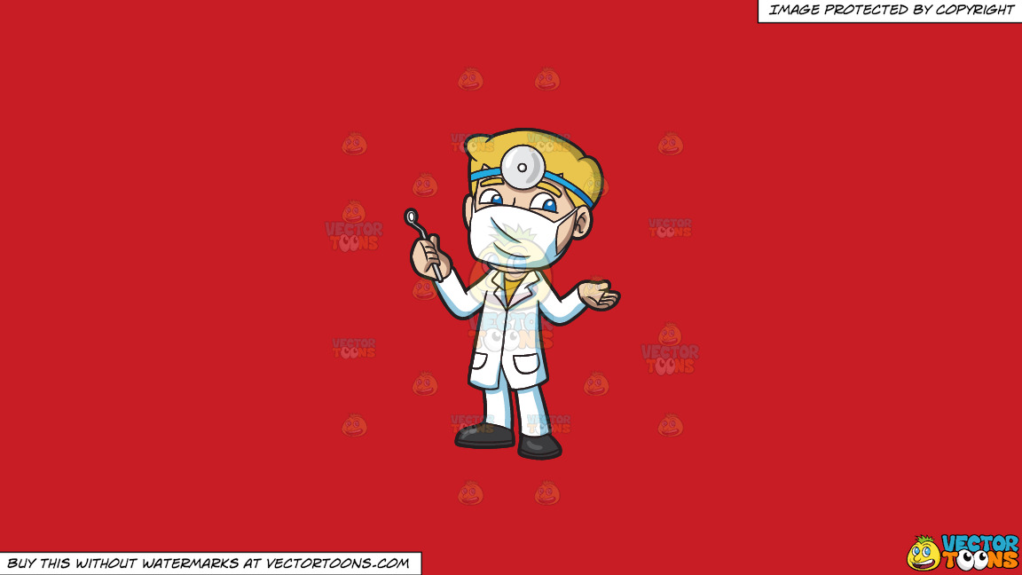A Dentist Ready For His Next Procedure On A Solid Fire Engine Red C81d25 Background thumbnail