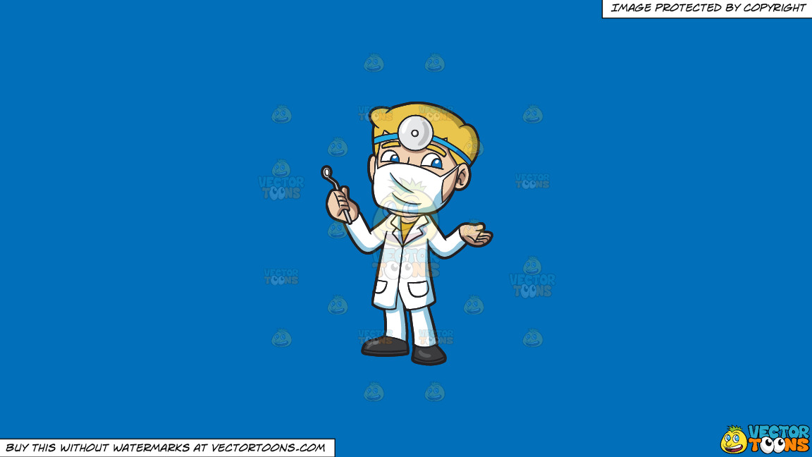A Dentist Ready For His Next Procedure On A Solid Spanish Blue 016fb9 Background thumbnail