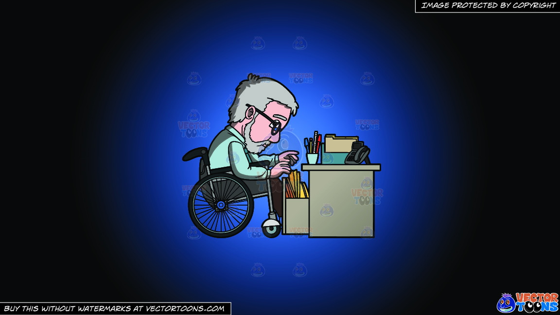 A Disabled Male Office Worker Looking For A File On A Blue And Black Gradient Background thumbnail
