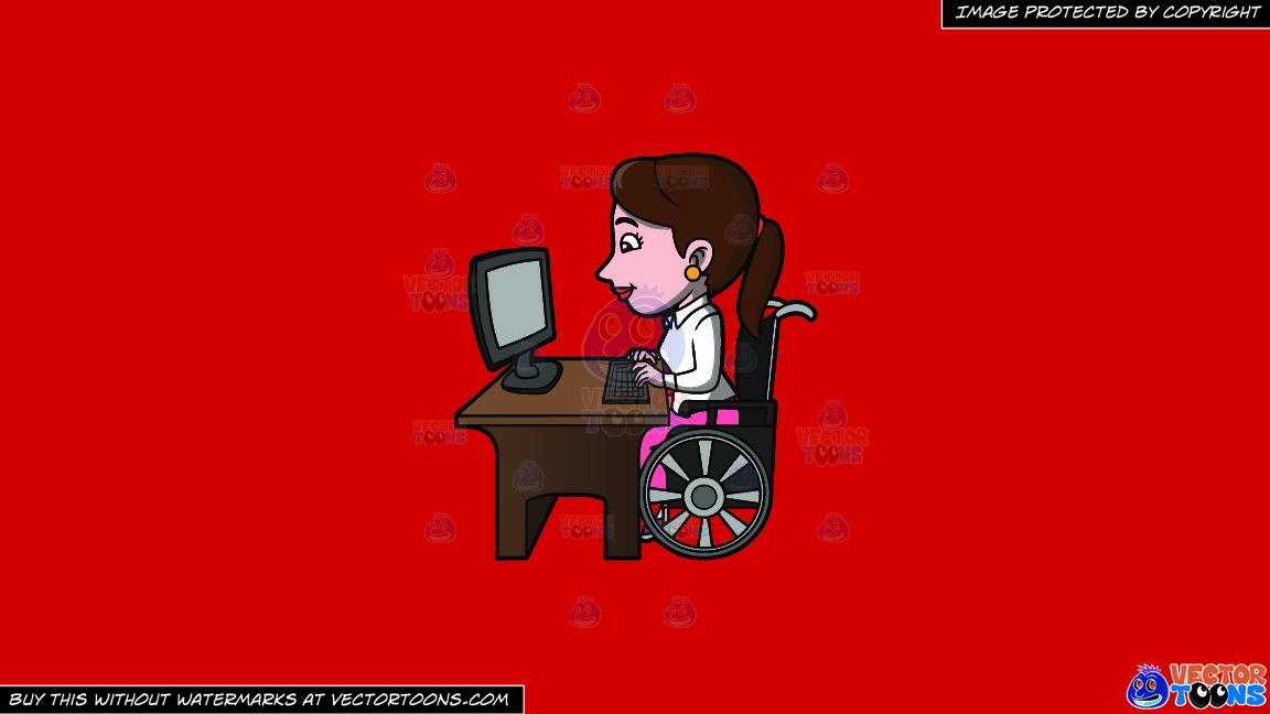 A Disabled Woman Surfing The Internet On A Solid Fire Engine Red C81d25 Background thumbnail
