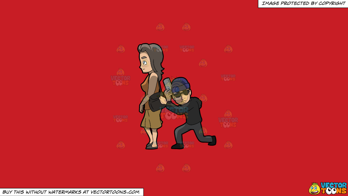 A Discreet Pickpocket Carefully Steals A Mobile Phone From A Woman On A Solid Fire Engine Red C81d25 Background thumbnail