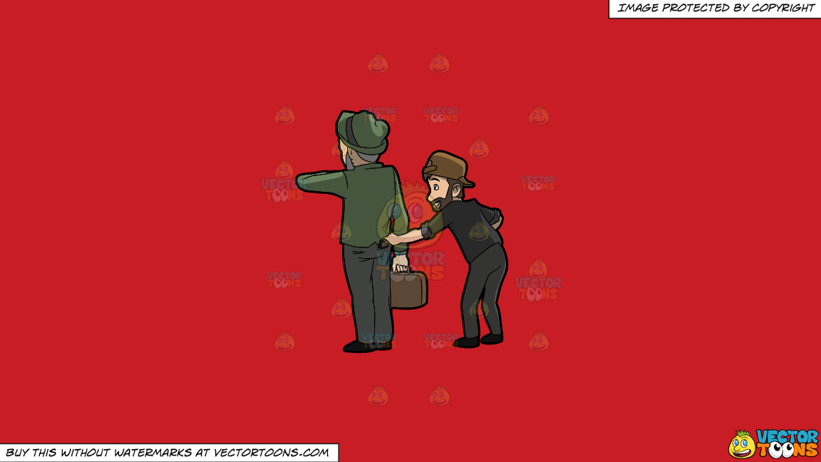 A Discreet Pickpocket Stealing A Wallet From An Old Man On A Solid Fire Engine Red C81d25 Background thumbnail