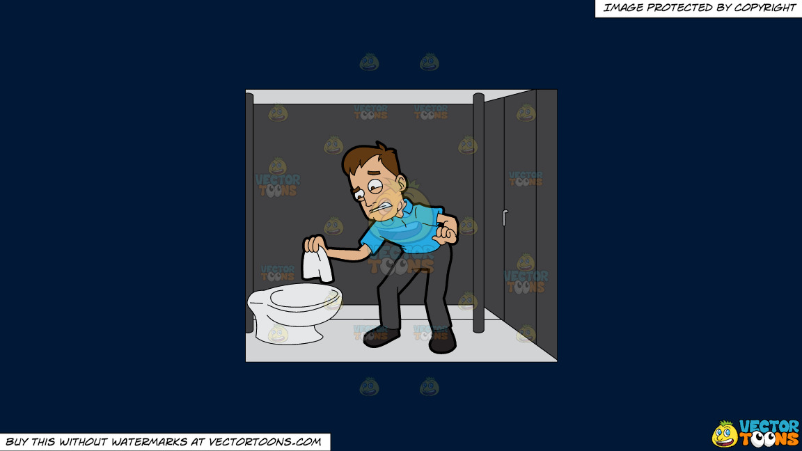 A Disgusted Man Trying To Wipe The Toilet On A Solid Dark Blue 011936 Background thumbnail