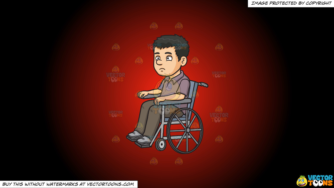 A Disoriented Man In A Wheelchair On A Red And Black Gradient Background thumbnail