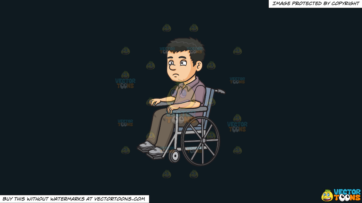 A Disoriented Man In A Wheelchair On A Solid Off Black 0f1a20 Background thumbnail