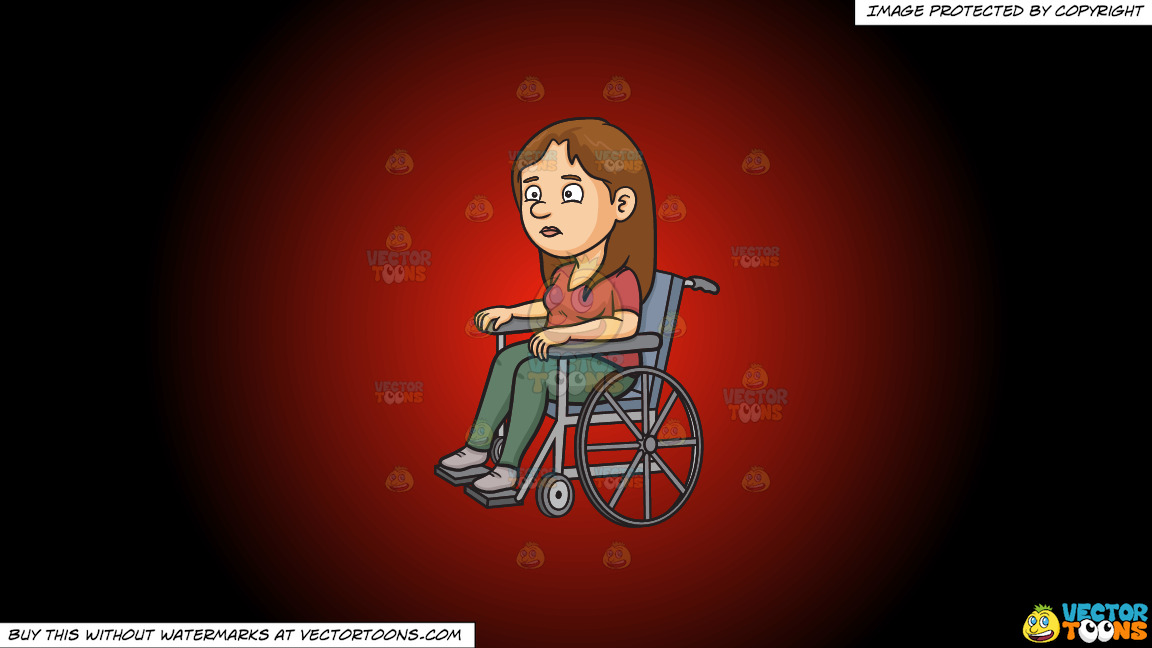 A Disoriented Woman In A Wheelchair On A Red And Black Gradient Background thumbnail