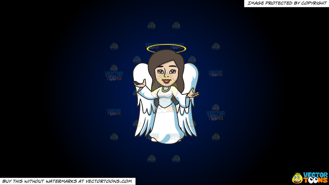 A Divine Angel On A Dark Blue And Black Gradient Background thumbnail