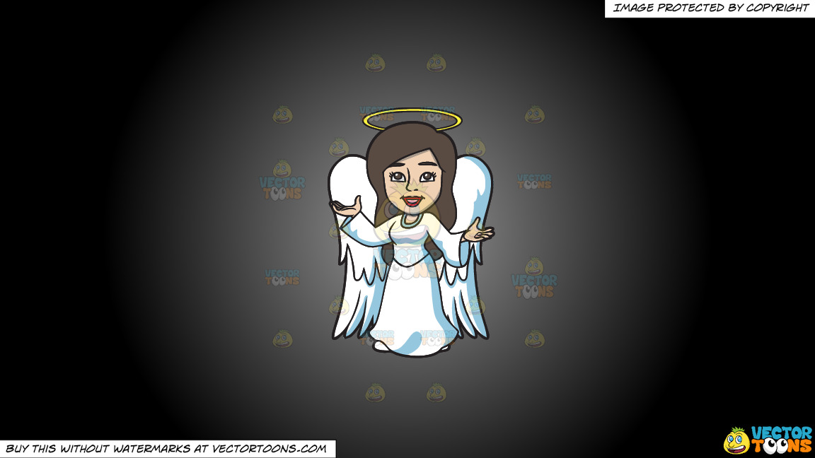 A Divine Angel On A Grey And Black Gradient Background thumbnail