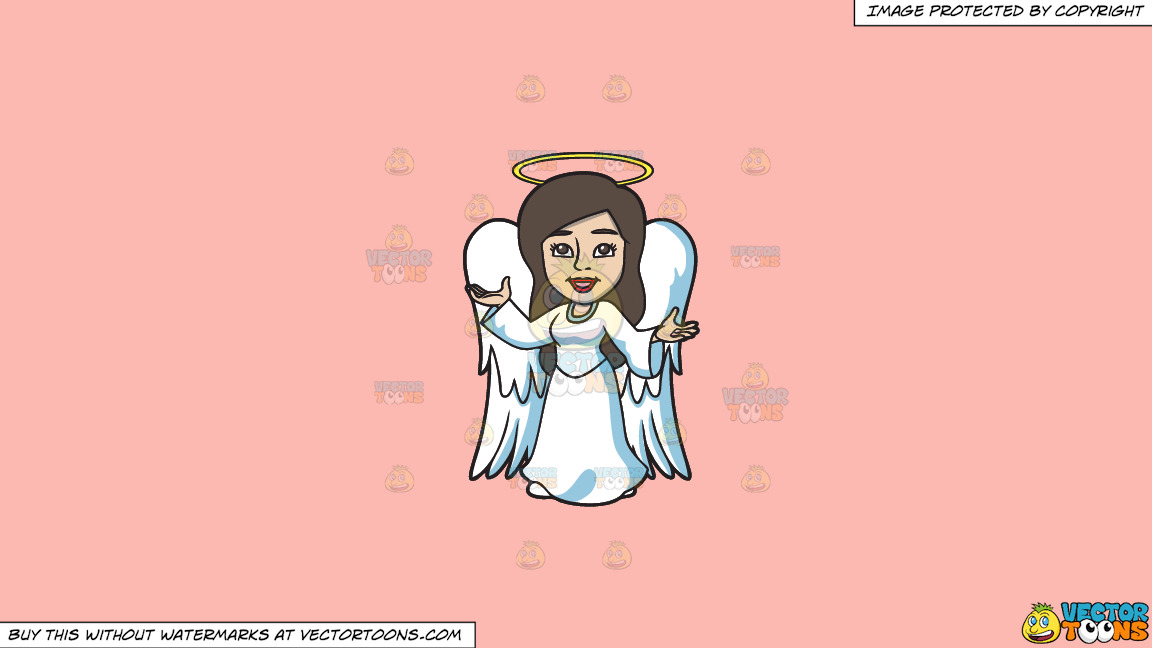A Divine Angel On A Solid Melon Fcb9b2 Background thumbnail