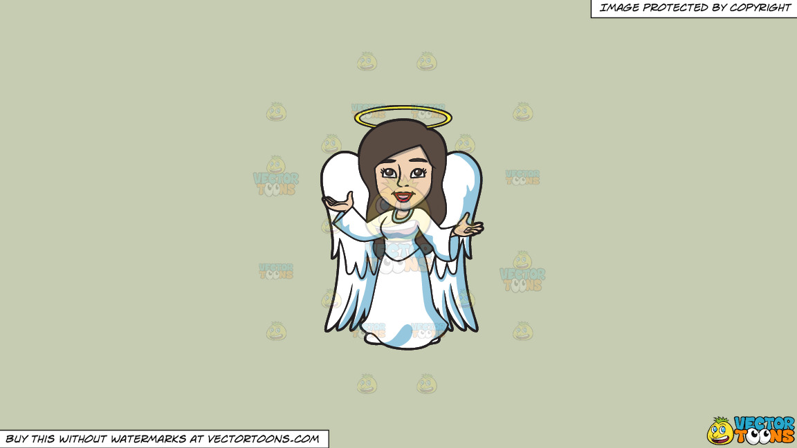 A Divine Angel On A Solid Pale Silver C6ccb2 Background thumbnail