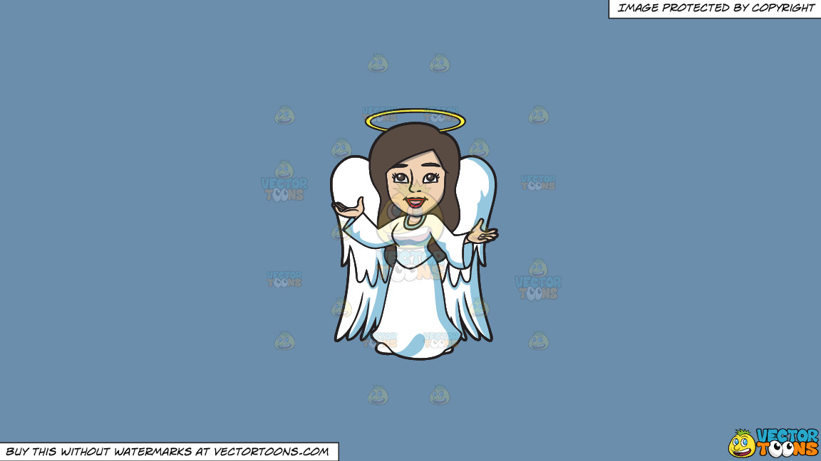 A Divine Angel On A Solid Shadow Blue 6c8ead Background thumbnail
