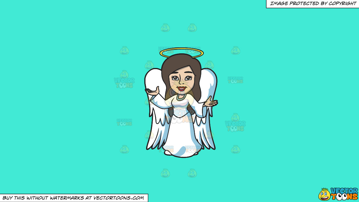 A Divine Angel On A Solid Turquiose 41ead4 Background thumbnail