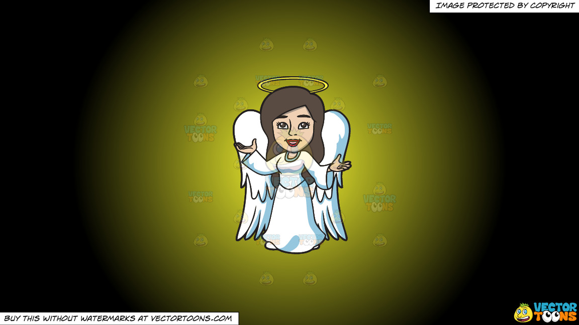 A Divine Angel On A Yellow And Black Gradient Background thumbnail