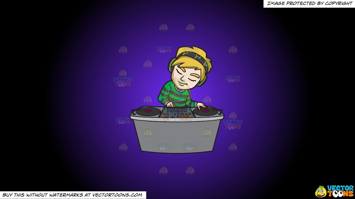 A Dj Concentrating On His Mix On A Purple And Black Gradient Background thumbnail