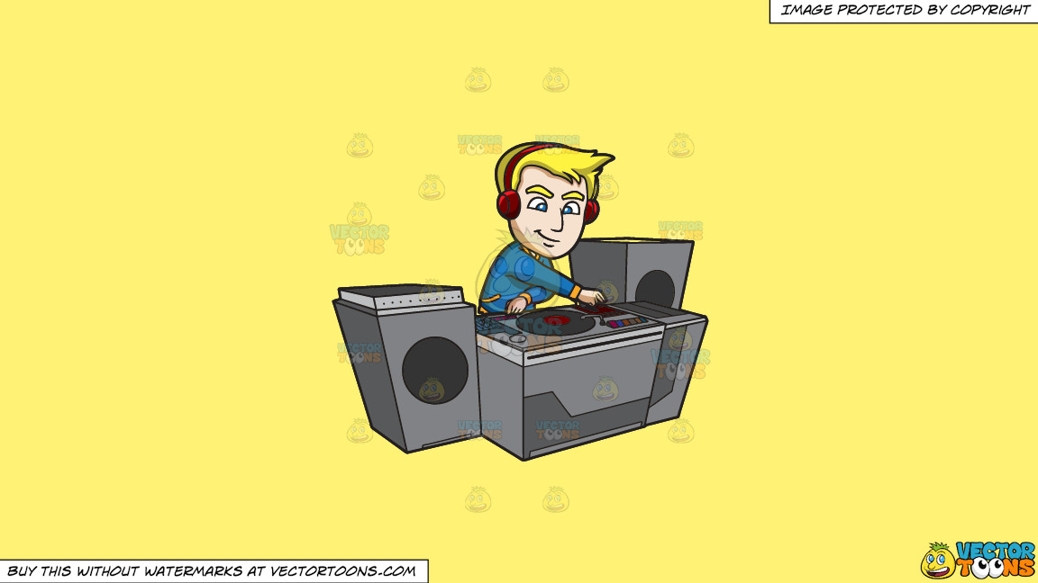 A Dj Creating A Super Mix Music On A Solid Sunny Yellow Fff275 Background thumbnail