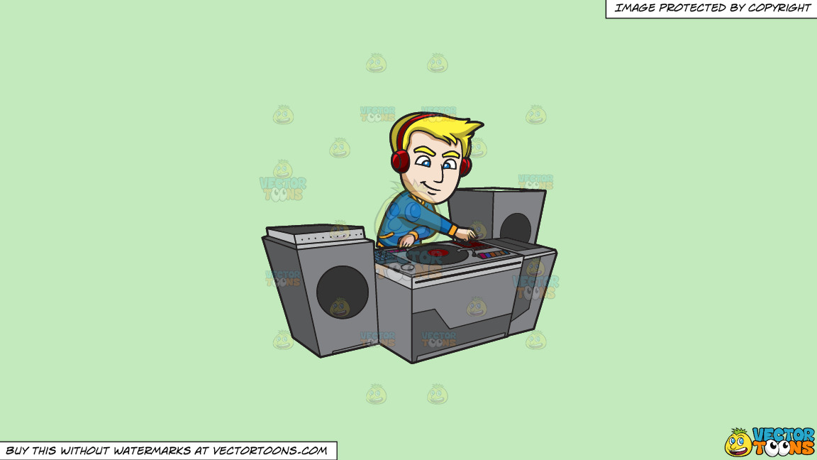 A Dj Creating A Super Mix Music On A Solid Tea Green C2eabd Background thumbnail