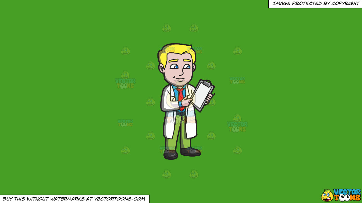 A Doctor Reading Notes From The Patients Chart On A Solid Kelly Green 47a025 Background thumbnail