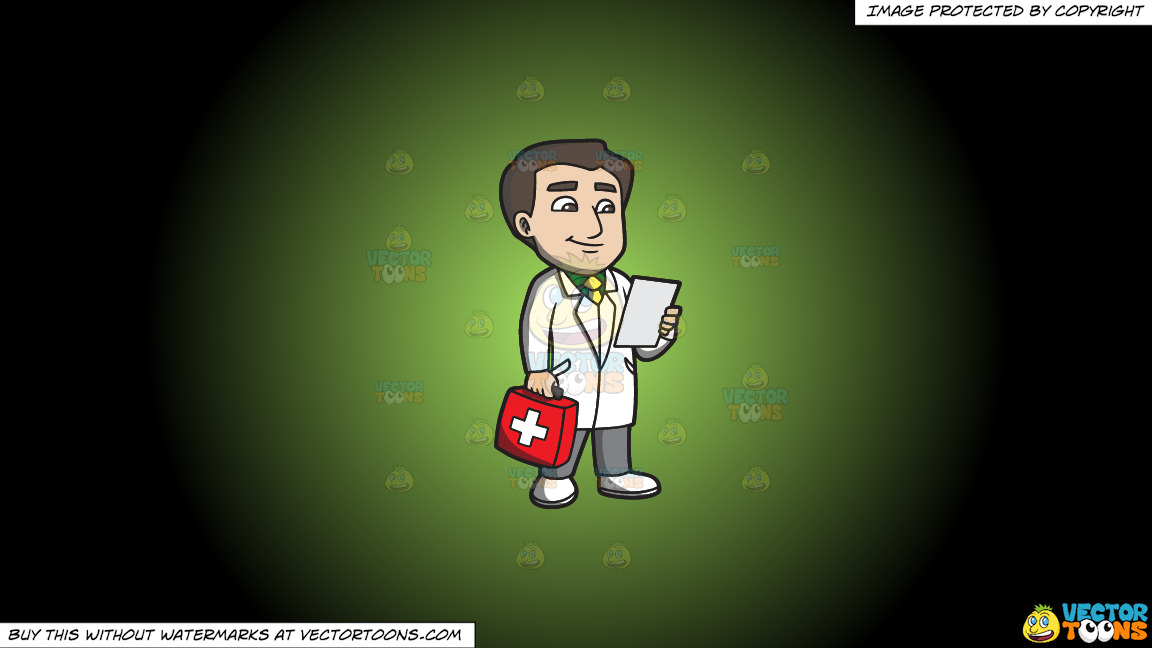 A Doctor With A First Aid Kit On A Green And Black Gradient Background thumbnail