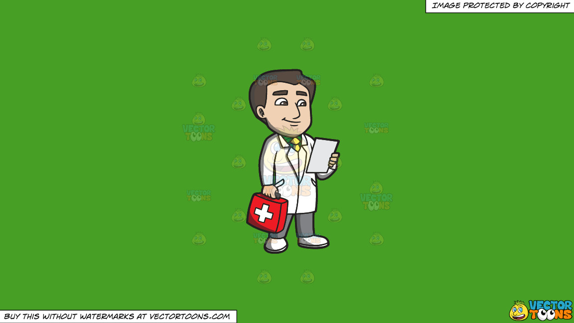 A Doctor With A First Aid Kit On A Solid Kelly Green 47a025 Background thumbnail