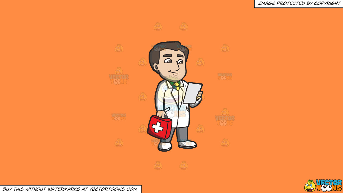 A Doctor With A First Aid Kit On A Solid Mango Orange Ff8c42 Background thumbnail