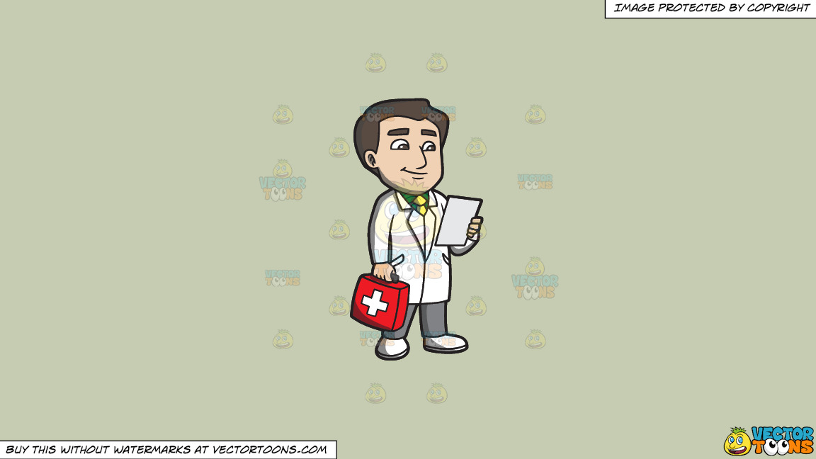 A Doctor With A First Aid Kit On A Solid Pale Silver C6ccb2 Background thumbnail