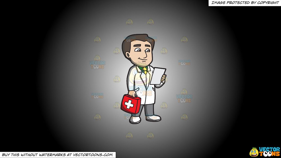 A Doctor With A First Aid Kit On A White And Black Gradient Background thumbnail