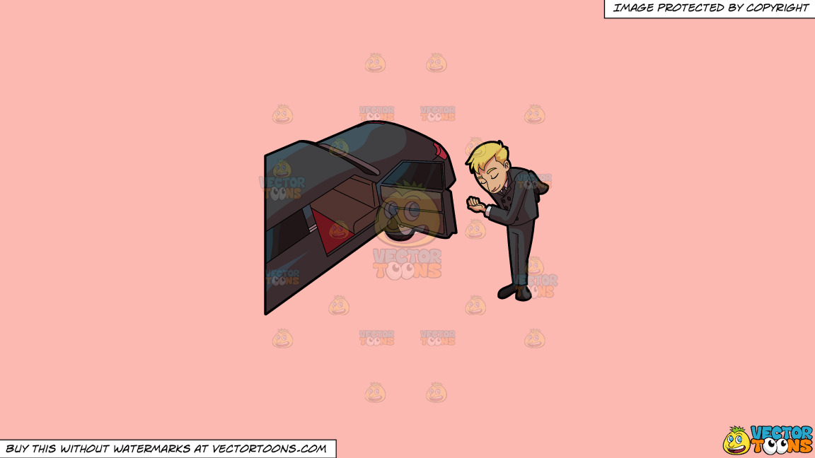 A Driver Bowing To Greet His Client On A Solid Melon Fcb9b2 Background thumbnail
