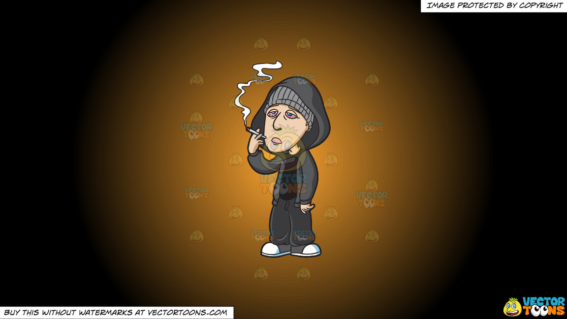 A Drugged Man Smoking Weed On A Orange And Black Gradient Background thumbnail