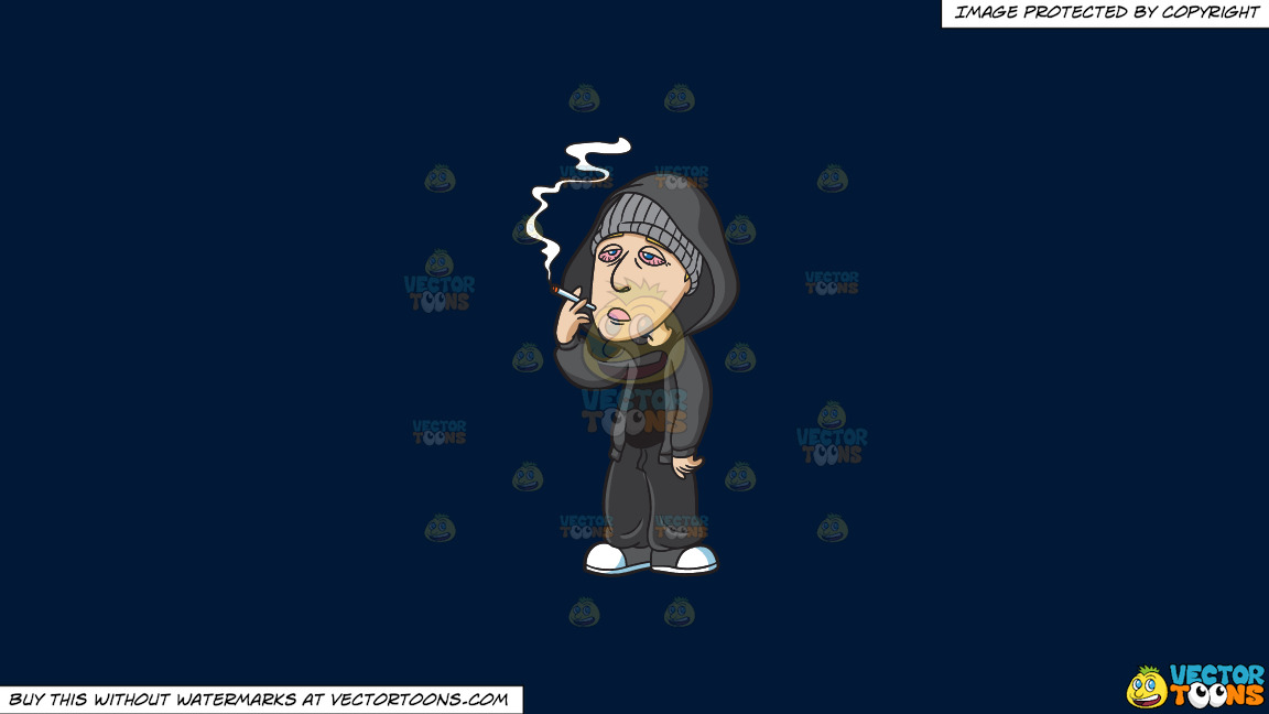 A Drugged Man Smoking Weed On A Solid Dark Blue 011936 Background thumbnail