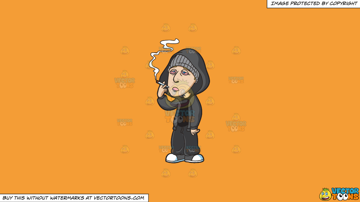 A Drugged Man Smoking Weed On A Solid Deep Saffron Gold F49d37 Background thumbnail