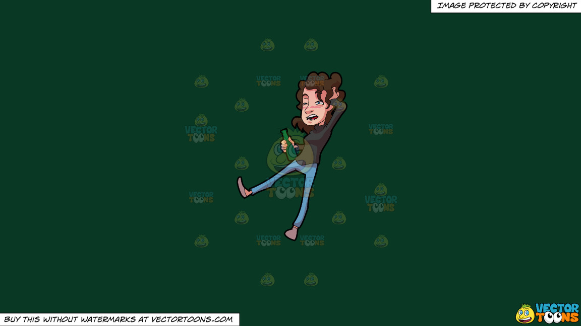A Drunk And Disoriented Woman On A Solid Dark Green 093824 Background thumbnail