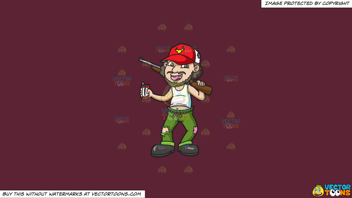 A Drunkard Yokel With A Shotgun On A Solid Red Wine 5b2333 Background thumbnail