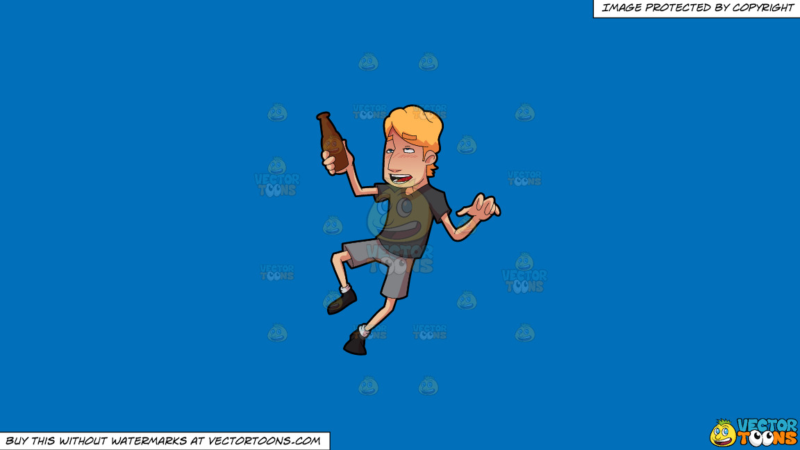 A Drunken Guy Who Is Walking Unsteadily On A Solid Spanish Blue 016fb9 Background thumbnail