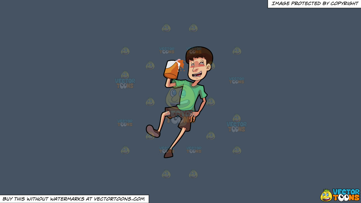 A Drunken Man Holding A Mug Of Beer On A Solid Metal Grey 465362 Background thumbnail