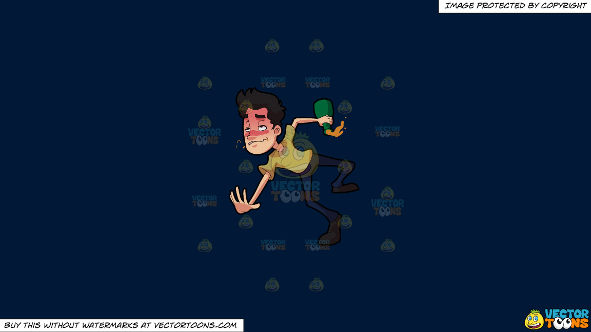 A Drunken Man Tumbling Down On The Floor On A Solid Dark Blue 011936 Background thumbnail