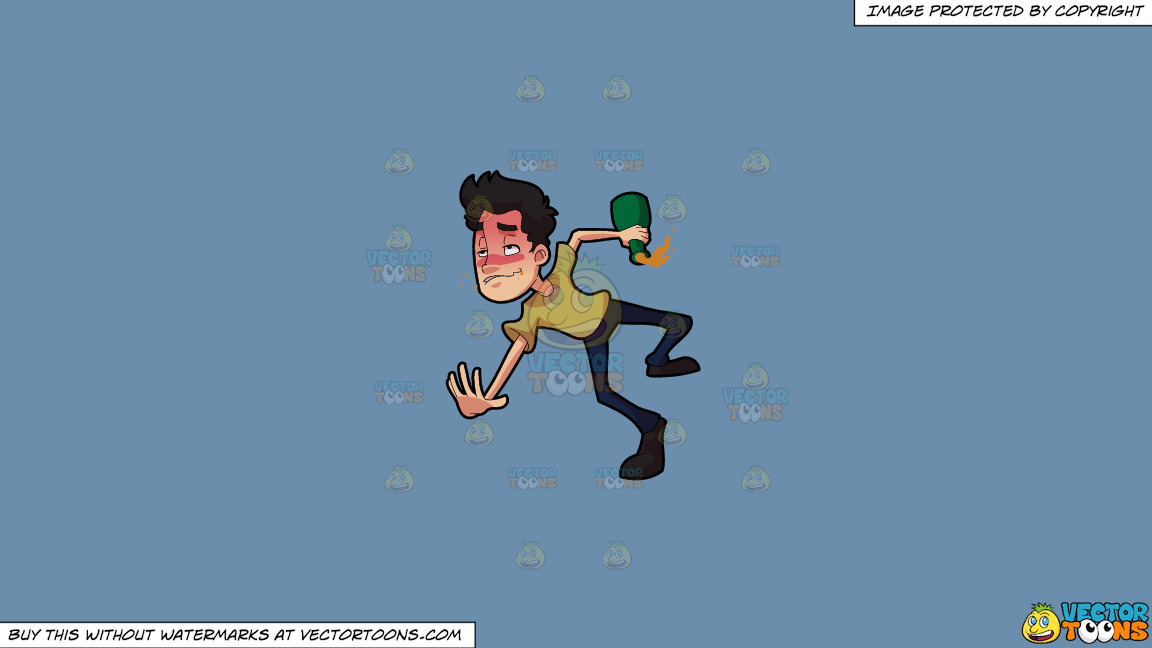 A Drunken Man Tumbling Down On The Floor On A Solid Shadow Blue 6c8ead Background thumbnail